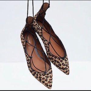 Zara Woman Leopard Print Pointy Flats Size 10